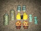 Vintage Salt And Pepper Shakers Lot Potted Flowers Sun Flower Sea Horse Green SP