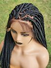 Box Braids Wig Braided Lace Front Wig Triangle Partings Dark Brown Wig 24