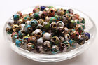 3050pcs Cloisonne Bead Enamel Round Ball Spacer Loose Floral Metal 6mm 8mm