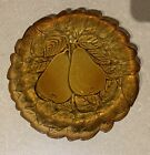 's Indiana Glass Company Brown Pear and Leaf Plate FREE Ship AMBER