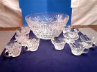 Punch Bowl and 11 Cups Anchor Hocking Arlington and Star of David Designs