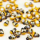 100Pcs Mini Bees Self Adhesive 9x12mm Wooden Bumble Ladybug Craft Card Toppers