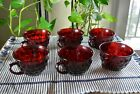 Six Anchor Hocking Vintage Royal Ruby Red Bubble Glass Punch Tea Coffee Cups