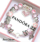 Pandora Bracelet 925 ALE Silver Pink MOM Angel Wing with European Charms New