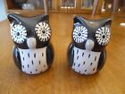 Owl Salt and Pepper Shakers NEW Black and White Adorable Smoke Free Home