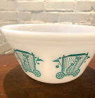 Vintage Federal Glass Teal / Blue Circus Tiger Pattern Mixing Bowl Milk Glass