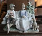 Lladro POETRY OF LOVE - Young lovers on a park bench with poodle