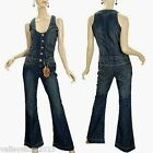 NEW Women Vanilla Star Blue Jeans Jumpsuit Overall Vintage 70s 80s L Large