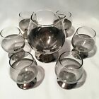 VINTAGE MID-CENTURY COCKTAIL MARTINI 7 PC SET SILVER FADE RIM GLASSES