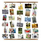 Hanging Picture Frame Collage Photo Display Art 30 Clips Wood Wall Decor 26x29