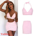 Ynibbim Womens Sleeveless Bandage Crop Top Bra+Midi Skirt Bodycon Mini Dress