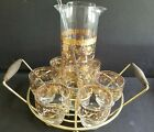 Culver Martini Pitcher Caddy Vintage Set of 6 Glasses Floral Gold Mid Century
