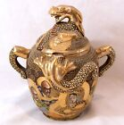 Japanese Satsuma Moriage Dragonware Gilded Immortals Sugar Bowl w Lid