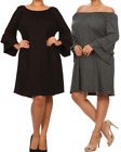 MOA USA Plus Size A-Line Dress w/ Tiered Bell Sleeves 1X-2X-3X Black
