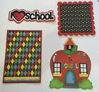 I LOVE SCHOOL Title  sewn mat set for Premade Scrapbook Page