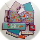 MAY May Flowers Premade Scrapbook Page Mat Set sewn SALE