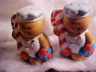 LARGE Candy Cane Makers Workers Ceramic Salt and Pepper Shakers NEW