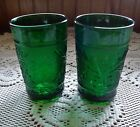 Set of 2 Anchor Hocking Forest Green Sandwich Depression Glass Juice Tumbler