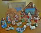 Vintage Commodore Paper Mache Nativity Set Japan Hand Painted 13 Pieces