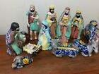 Talavera nativity set Mexican style pottery vintage 11PC hand painted LARGE