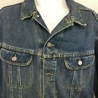 Vtg LEE Riders Indigo Denim Blue Jean Trucker Jacket Distressed Sz XL R USA