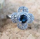New Blue & White Sapphire Flower Ring 925 Sterling Silver Size 8 #476