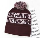 Victoria's Secret PINK Pompom Knit Beanie One Size Deep Ruby