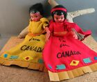 Vintage Canadian Im From Canada Indian Puppet Plastic Doll Pair Native American