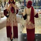 Women Dubai Style Open Front Kaftan Abaya Cardigan Muslim Robe Maxi Long Dress