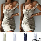 Women Holiday Cotton Beach Button Bowknot Bodycon Dress Evening Party Boho Skirt