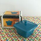 Fiestaware Peacock Square Covered Box Fiesta Belk Retired Blue Trinket Box