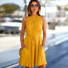 Womens Summer Solid Casual Sleeveless Dresses Ladies Ruffles Pleated Dresses New