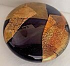 RANDY STRONG Art Glass Black  Gold Foil Paperweight Limited Edition Signed