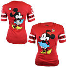 Disney Womens T Shirt Minnie Mouse Slim Fit Top US Cotton S M L XL RED Tee NEW
