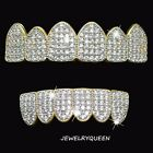 18K Gold Plated High Quality CZ Iced Two Tone Top  Bottom GRILLZ Mouth Teeth