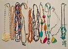 Vintage wooden candy necklace Plastic rose Amethys Namaste art glass beads +