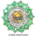 CHARMING NATURAL RAINBOW FIRE OPALGREEN EMERALD STERLING 925 SILVER RING SIZE 8