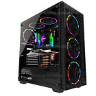 Gaming PC Case Computer ATX Mid Tower Tempered Glass 6 Built in LED Fan RGB