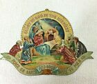 Antique Tin Litho Christmas Nativity 5 1 4 x 3 3 4 Metal Piece Amazing Color T74