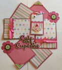 CUTE AS A CUPCAKE Premade Scrapbook Page Mat Set SEWN