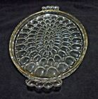 Jeannette Glass Clear Oval Tray Platter Thumbprint Gold Trim Handles