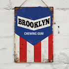 BROOKLYN Jersey Vintage Metal Wall Sign Plaque Mancave Bike Cycling USA Retro