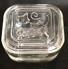 Vintage HAZEL ATLAS Clear Glass REFRIGERATOR DISH with Ivy Pattern Lid 4