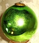 One Hand Blown German Light GREEN Mercury Glass Antique Christmas Kugel