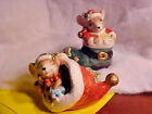 LARGE Holiday Spirited Sleeping Eating Mice Ceramic Salt and Pepper Shakers NEW