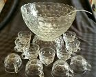 Vintage FEDERAL GLASS YORKTOWN COLONIAL GLASS CLEAR PUNCH BOWL SET