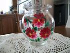 VTG. FISH BOWL TYPE CLEAR GLASS BOWL-DECORATED WITH HAND-PAINTED FLOWERS