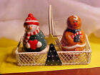 LARGE Holiday Snowman  Gingerbread Man Salt and Pepper Shakers Metal Basket NEW