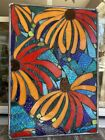 Stained Glass Lily Peonies Flowers Mosaic Window Panel Transom OOAK