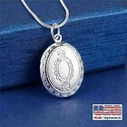 925 Sterling Silver Oval Photo Locket Pendant Flower Necklace For Women